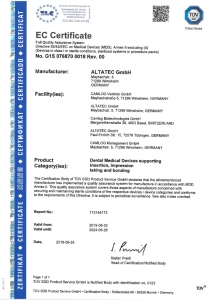Импланти CAMLOG Сертификат за качество G1S